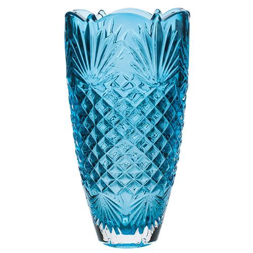 Vaso Clarice em cristal ecológico 25Cm turquesa BOHEMIA