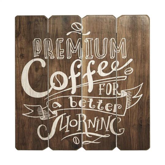 PLACA DECORATIVA COFFEE PREMIUM EM MADEIRA - 40X40 CM