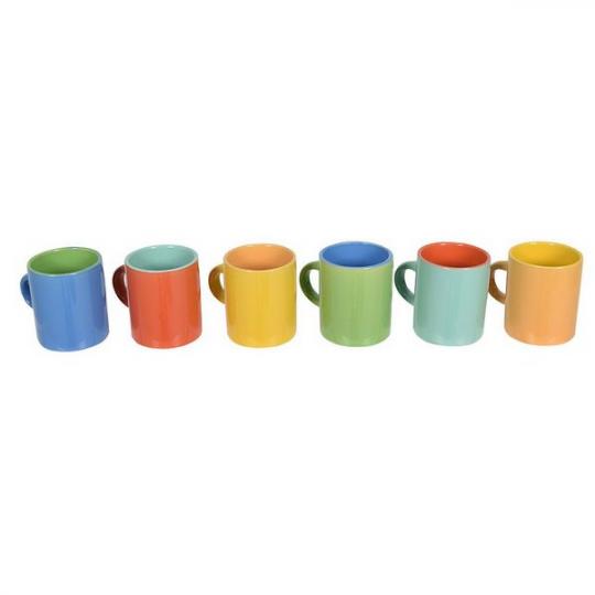jogo 6 mini canecas café color mimo style