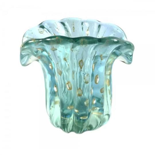 vaso leque pequeno azul murano