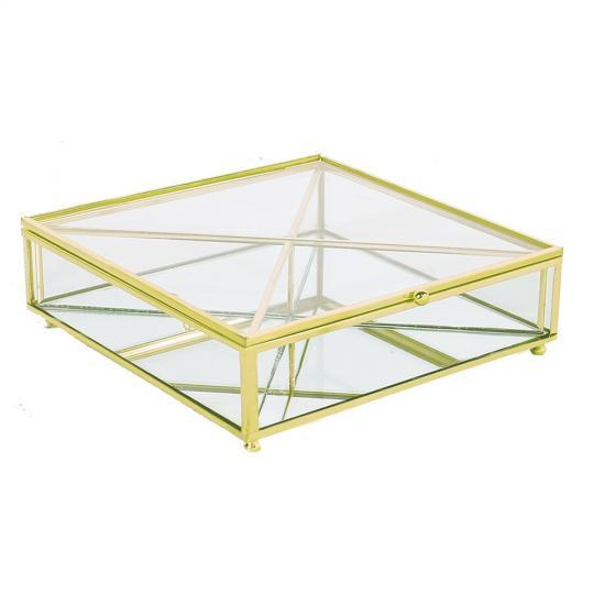 caixa de vidro e metal dourado para especiarias de gin quadrado