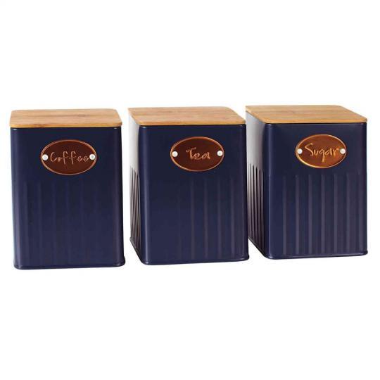 jogo 3 porta mantimentos lata azul com tampa de madeira