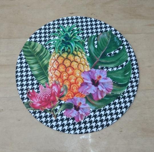 jogo com 4 sousplat e 4 guardanapos xadrez flor e abacaxi
