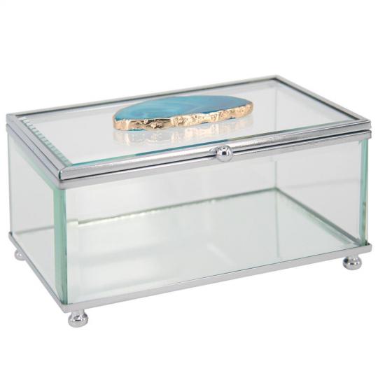 caixa de vidro quadrada com pedra de ágata azul