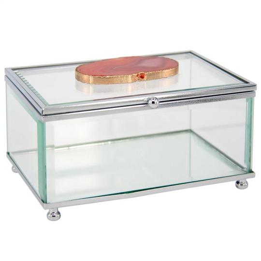 caixa de vidro quadrada com pedra de ágata rosa