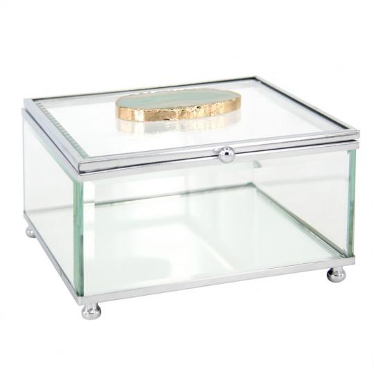 caixa de vidro quadrada com pedra de ágata verde