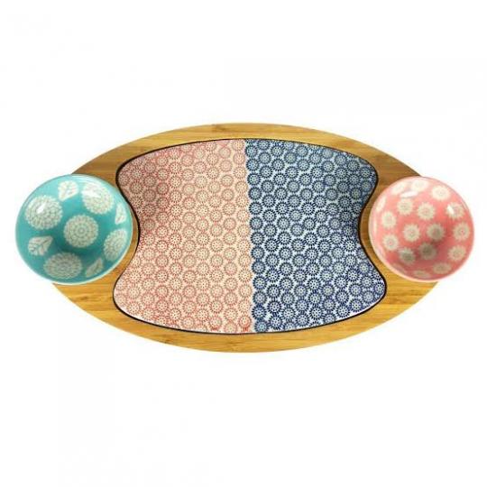 tabua com 2 bowls cerâmica colorido