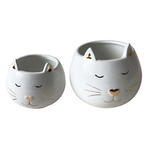conjunto de potes de ceramica gato branco e dourado