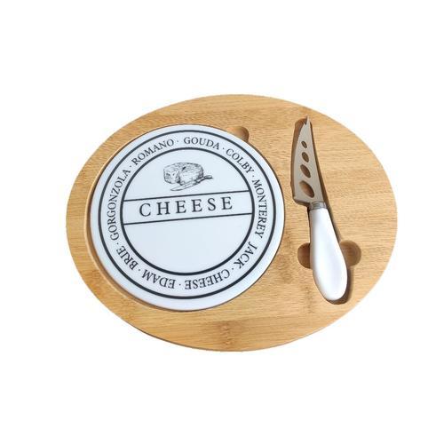 jogo de 3 pecas para queijo em bambu com tabua em ceramica dynasty