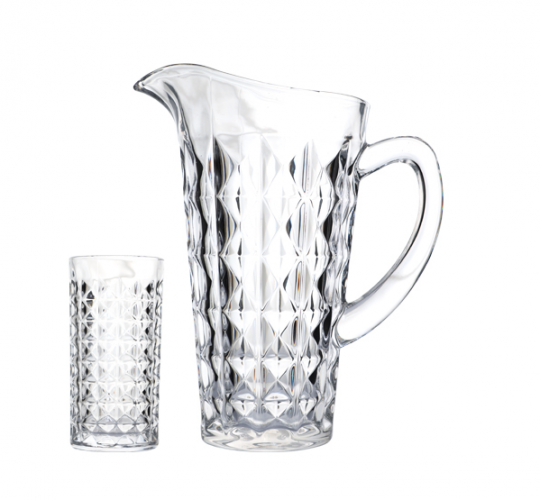 jogo de jarra e 6 copos aquamarine lhermitage