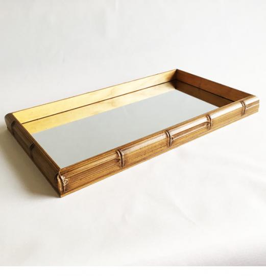 bandeja retangular bambu espelho 29x18cm lhermitage
