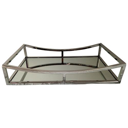 bandeja retangular em aço inox espelhada  l41xp26xa8cm fracallanza