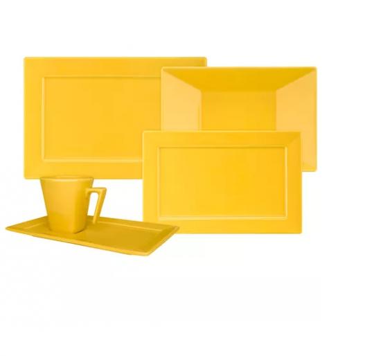 aparelho de jantar e cha 30 peças plateau yellow oxford
