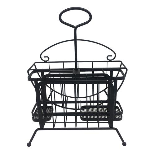 suporte para pratos e talheres em ferro preto lhermitage
