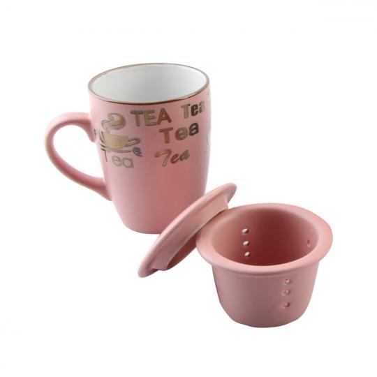 caneca com infusor e tampa vintage rosa 350ml bon gourmet