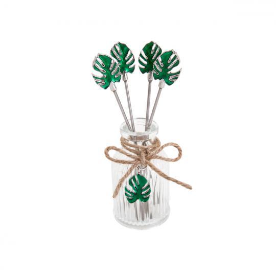 jogo com 4 palitos para petiscos garrafa costela de adão verde