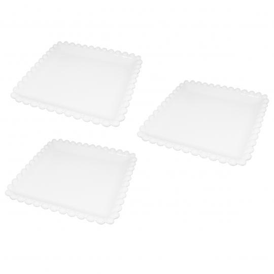 jogo de 3 petisqueiras quadradas em porcelana branca 15cm bon gourmet