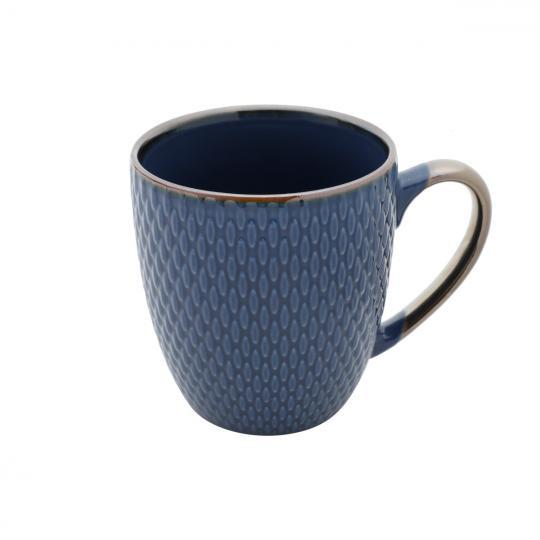 caneca porcelana azul 400ml bon gourmet