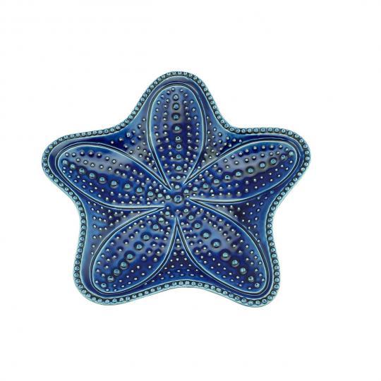 jogo de 4 pratos estrela do mar azul bon gourmet