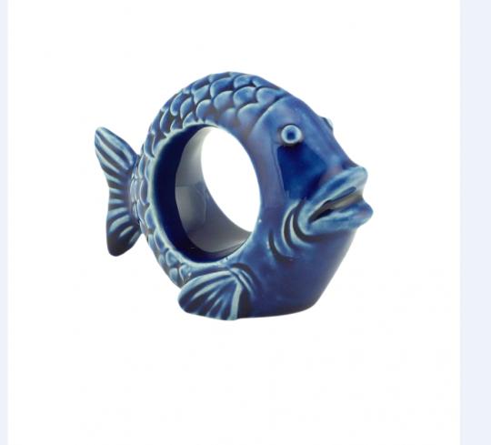 jogo de 4 porta guardanapo de cerâmica peixe azul