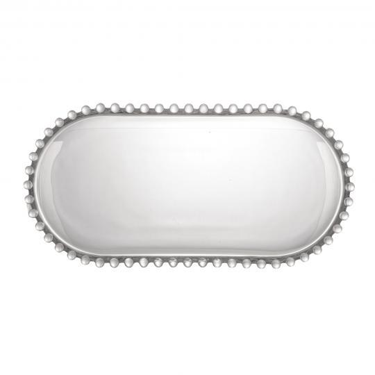 travessa oval cristal pearl 30x15cm wolff
