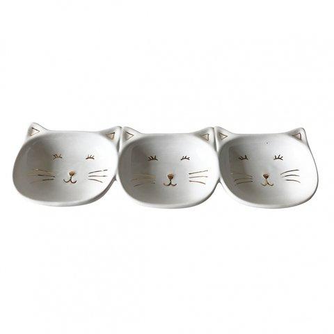 petisqueira ceramica gato branco e dourado