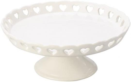 prato com pe e borda de coração branco 20,5cm  lyor /,