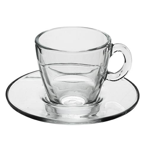 JOGO 6 XÍCARAS DE CAFE EM VIDRO AQUA PASABAHCE