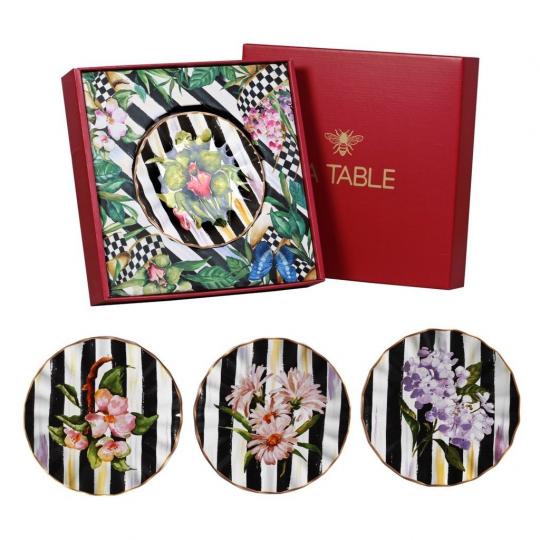 jogo de 4 pratos de sobremesa floral chess scalla