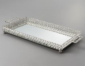 bandeja retangular de cristal com espelho 45x25cm wolff