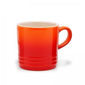 caneca de cerâmica espresso laranja le creuset