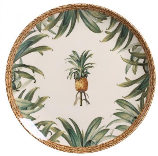 jogo 6 pratos raso abacaxi natural porto brasil