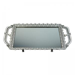 bandeja de prata com cristal 39x24cm craw