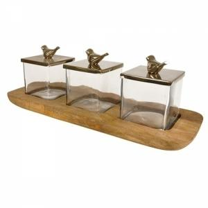 petisqueira base madeira com caixas de vidro craw