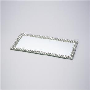 bandeja retangular de espelho com perola