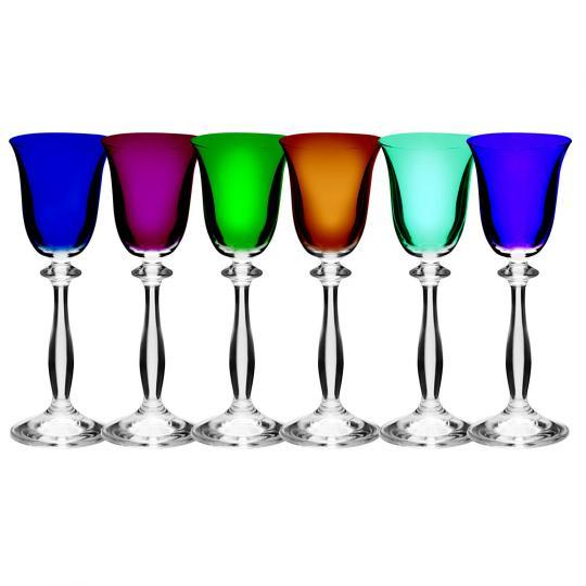 jogo 6 taças licor angela color 60ml bohemia