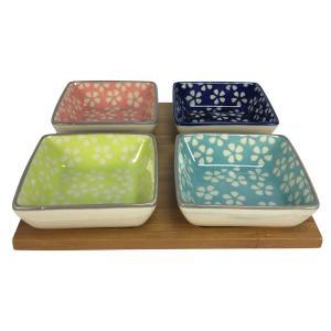 petisqueira bambu com 04 bowls quadrados em cerâmica color