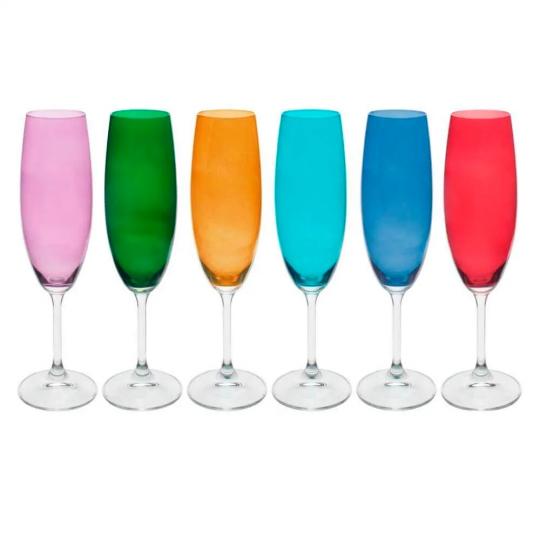 jogo 6 taças champanhe gastro color bohemia