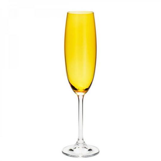 jogo de 6 taças para champanhe gastro colibri amarela bohemia /,