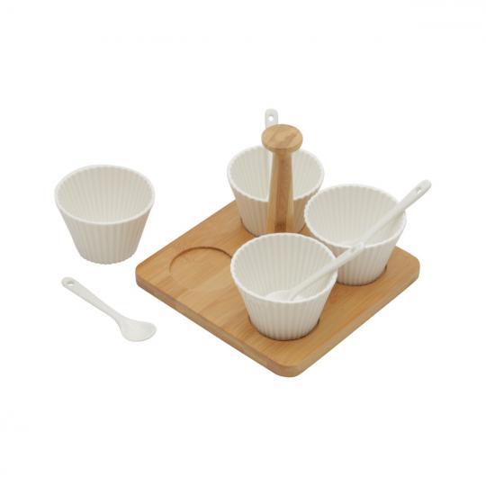 conjunto 9 peças 4 molheiras e 4 colheres com suporte de bamboo bon gourmet