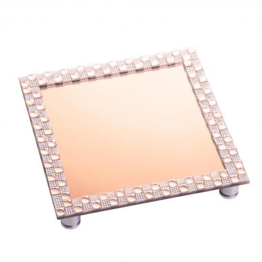 bandeja quadrada espelhada  cobre 22x22 cm