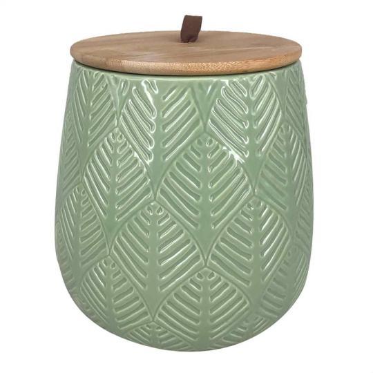 pote de cerâmica verde com tampa de madeira grande