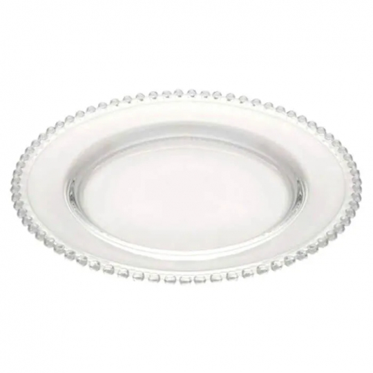 jogo de 6 pratos pearl em cristal 28cm wolff