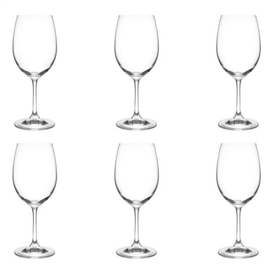 jogo de 6 taças em cristal de água roberta 450ml bohemia