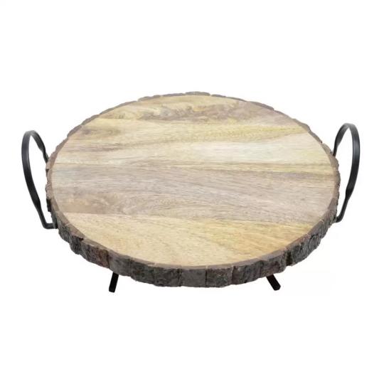 tabua redonda de madeira com suporte bon gourmet