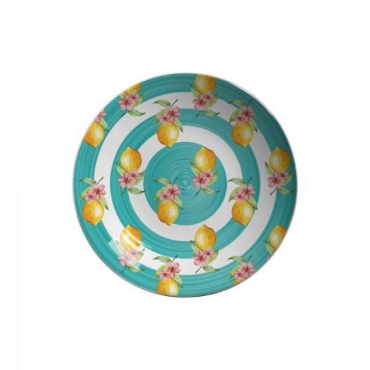 jogo de 6 pratos fundos cerâmica limões scalla