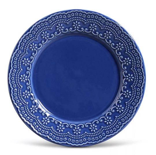 jogo de 06 pratos raso madeleine azul porto brasil