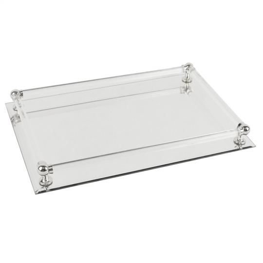 bandeja espelhada 25x37 prata