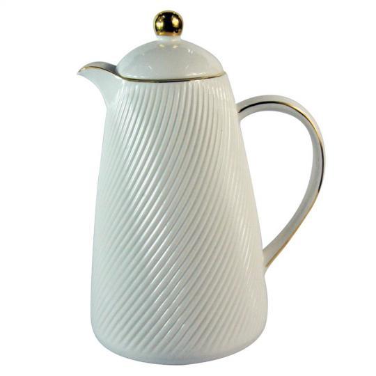 garrafa térmica em porcelana branco/dourado 650ml