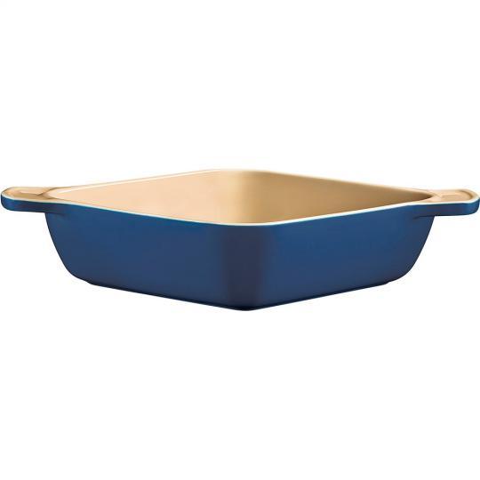 travessa de cerâmica quadrada funda azul 22cm tramontina